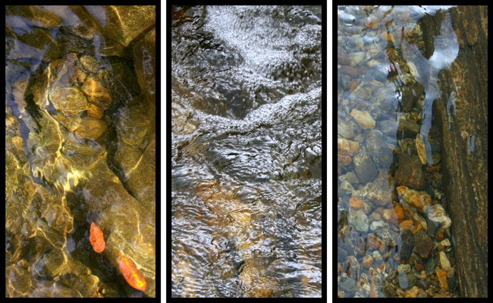 observe as if you are watching the water running, pooling, swirling, and rippling in a stream
