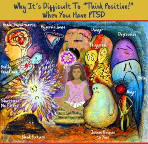 PTSD Symptom Monsters Eat the Positive Thought