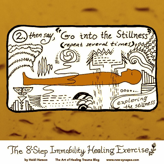 """drawing of a person lying down with the words """"Go into the Stillness; exploring the Stillness."""""""