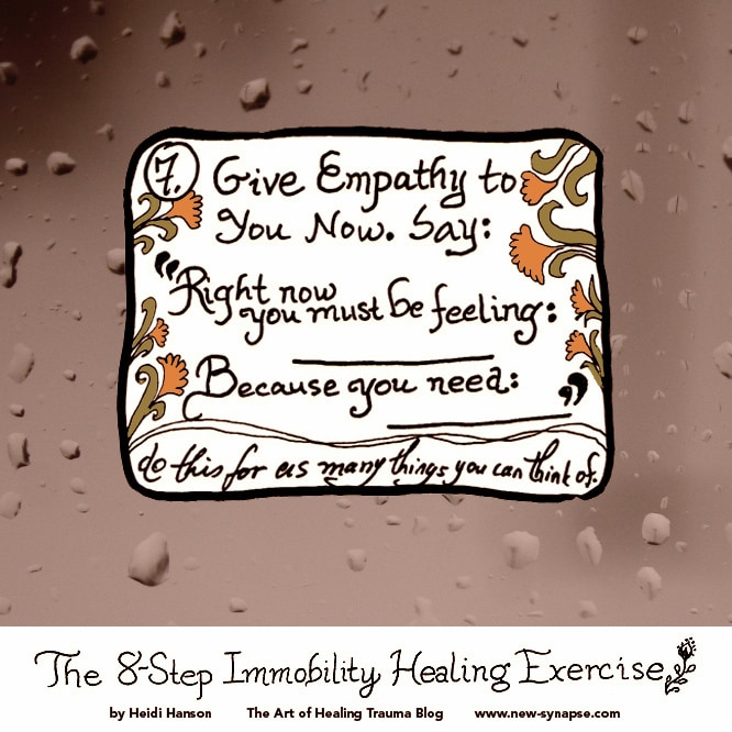 Give Emathy to Yourself Now - words with drawings of flowers and raindrops on a window in the background