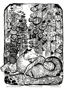 a person and wolf laying underneath a forest of fir trees