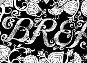 Breathe Coloring Page detail of lettering