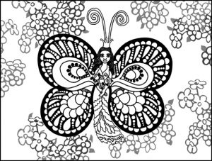 Butterfly Princess and Fireweed Coloring Page