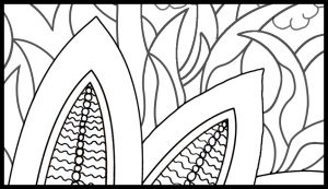 Count Backwards while Walking Grounding Activity Coloring Page detail of leaves and grass