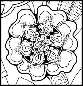 Count Backwards while Walking Grounding Activity Coloring Page detail of flower