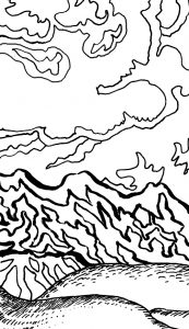 Drink Something Cold Grounding Activity Coloring Book Page detail of mountains with clouds