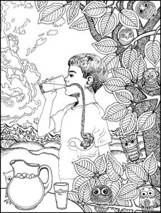 Drink Something Cold Grounding Activity Coloring Book Page
