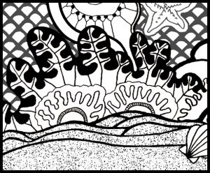 Fish Coloring Page detail of seaweed