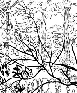 Finding Your Inner Wolf Coloring Page detail of waterfalls coming out of clouds with plum blossoms in front