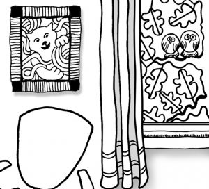 Look for Colors Grounding Activity Coloring Page owls outside the window detail