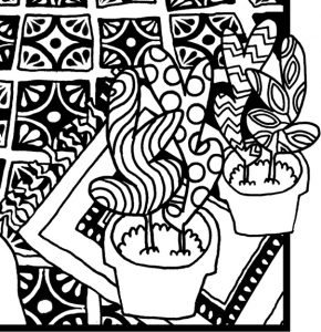Look for Colors Grounding Activity Coloring Page potted plants and tiles detail