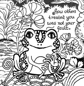 A Message for Trauma Survivors from Forest Creatures Coloring Page frog detail