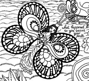A Message for Trauma Survivors from Forest Creatures Coloring Page butterfly princess detail