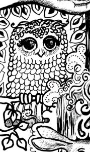Opening up to Goodness and Allowing Emotions Coloring Page owl detail