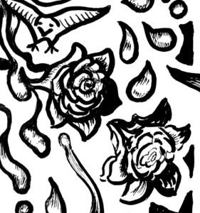 Opening up to Goodness and Allowing Emotions Coloring Page roses detail