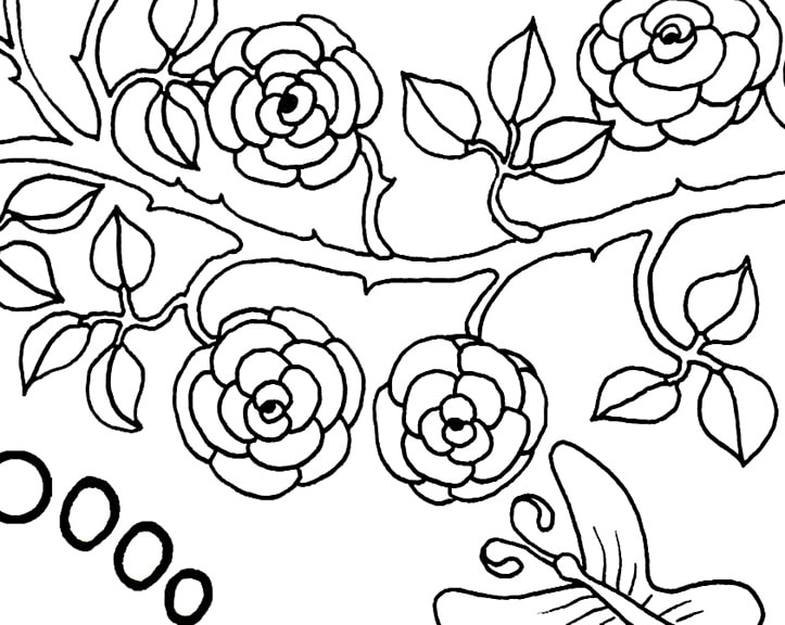 Push Against a Wall Grounding Activity Coloring Page detail of branch with roses