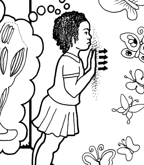 Push Against a Wall Grounding Activity Coloring Page detail of girl pushing against wall with hands