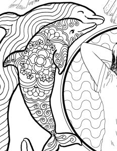 Two dolphins in coloring book page