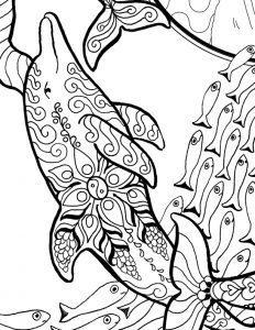 A black and white ink drawing of a dolphin swimming with a bunch of small fish behind.