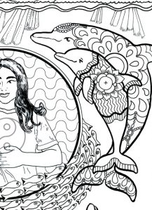 Close-up of two dolphins in the Self-Holding Step 5 Coloring Page