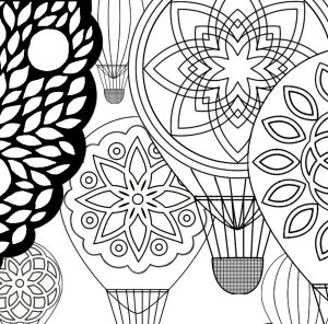 Close-up of hot air balloons in Walk Mindfully Coloring Page